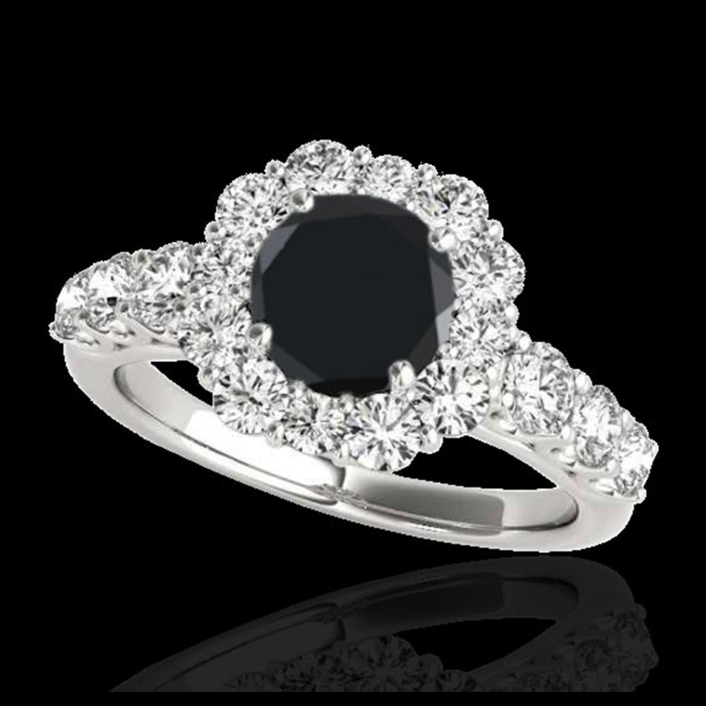 2.9 ctw VS Black Diamond Solitaire Halo Ring 10K White Gold - REF-91A9V - SKU:33394