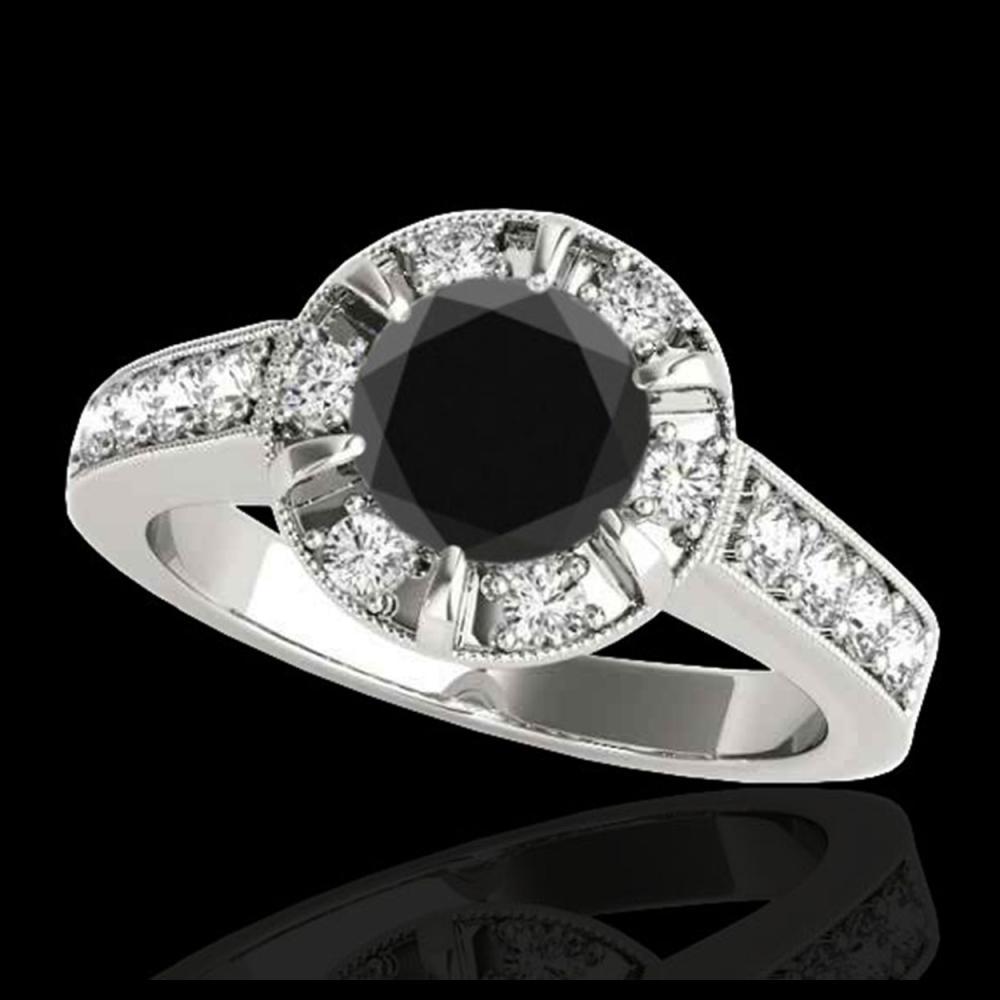 2 ctw VS Black Diamond Solitaire Halo Ring 10K White Gold - REF-68K4W - SKU:34489