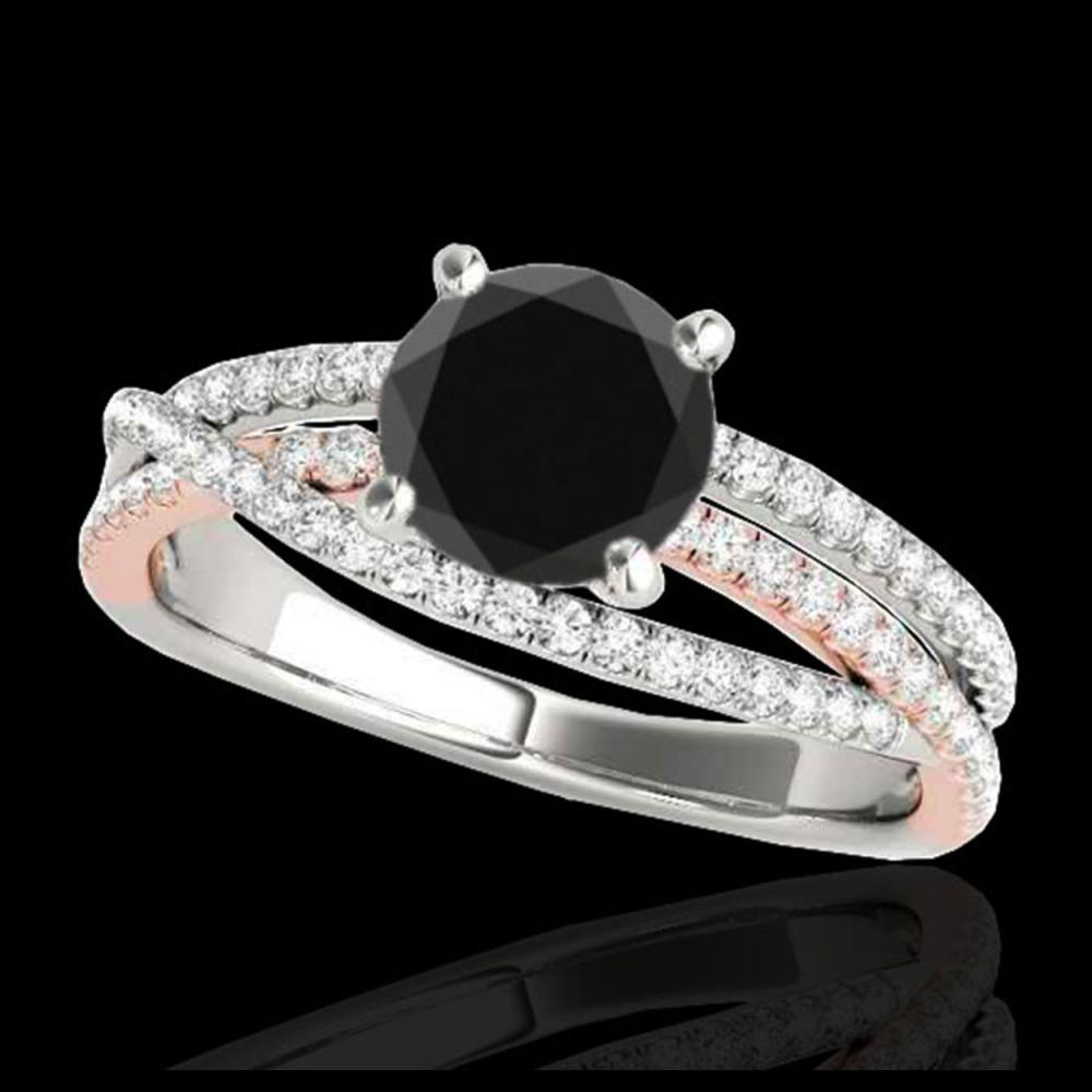 1.40 ctw VS Black Diamond Solitaire Ring 10K White & Rose Gold - REF-70X9R - SKU:35544