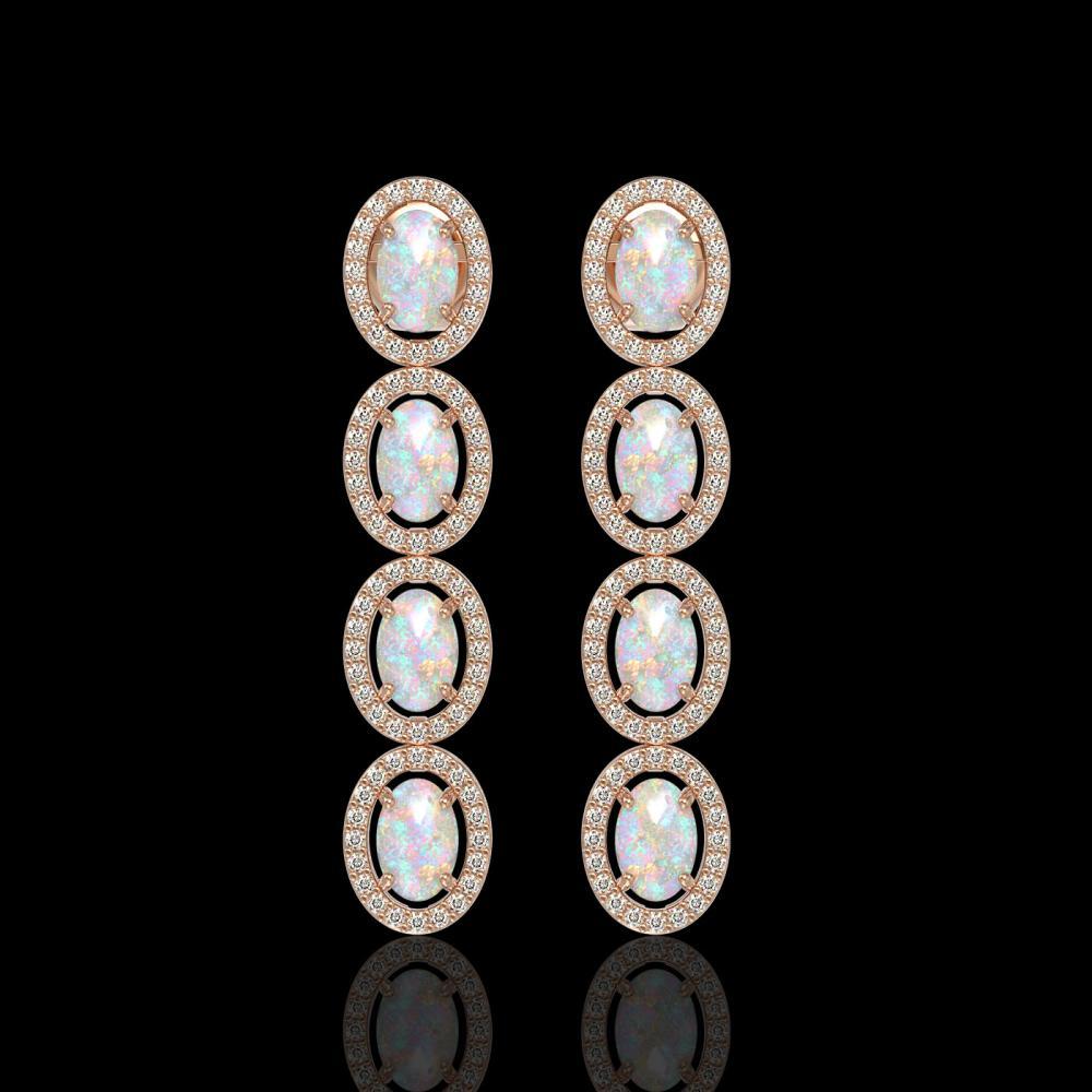 4.05 ctw Opal & Diamond Halo Earrings Rose 10K Rose Gold - REF-125X5R - SKU:40518
