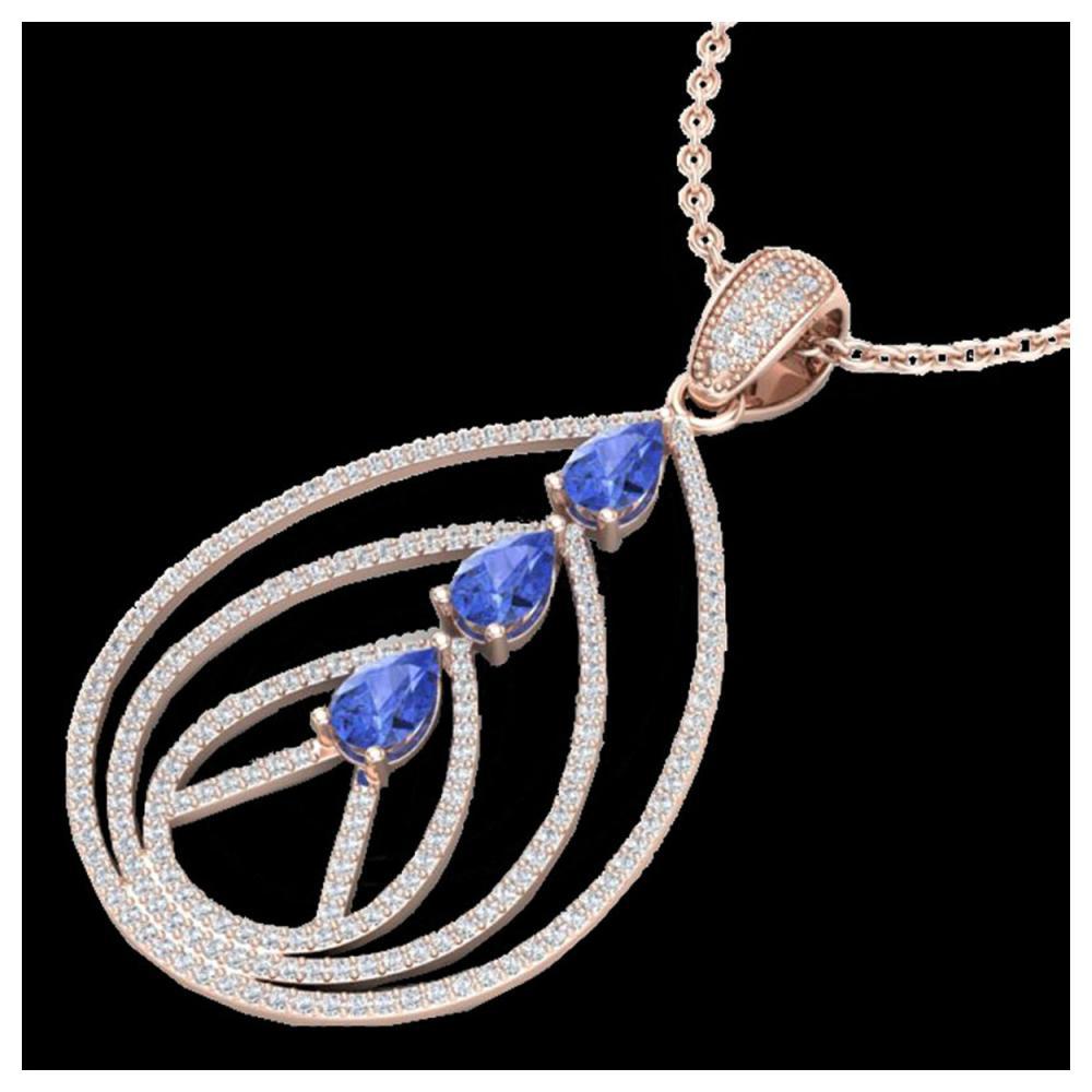 2 ctw Tanzanite & VS/SI Diamond Necklace 14K Rose Gold - REF-116F4N - SKU:22474