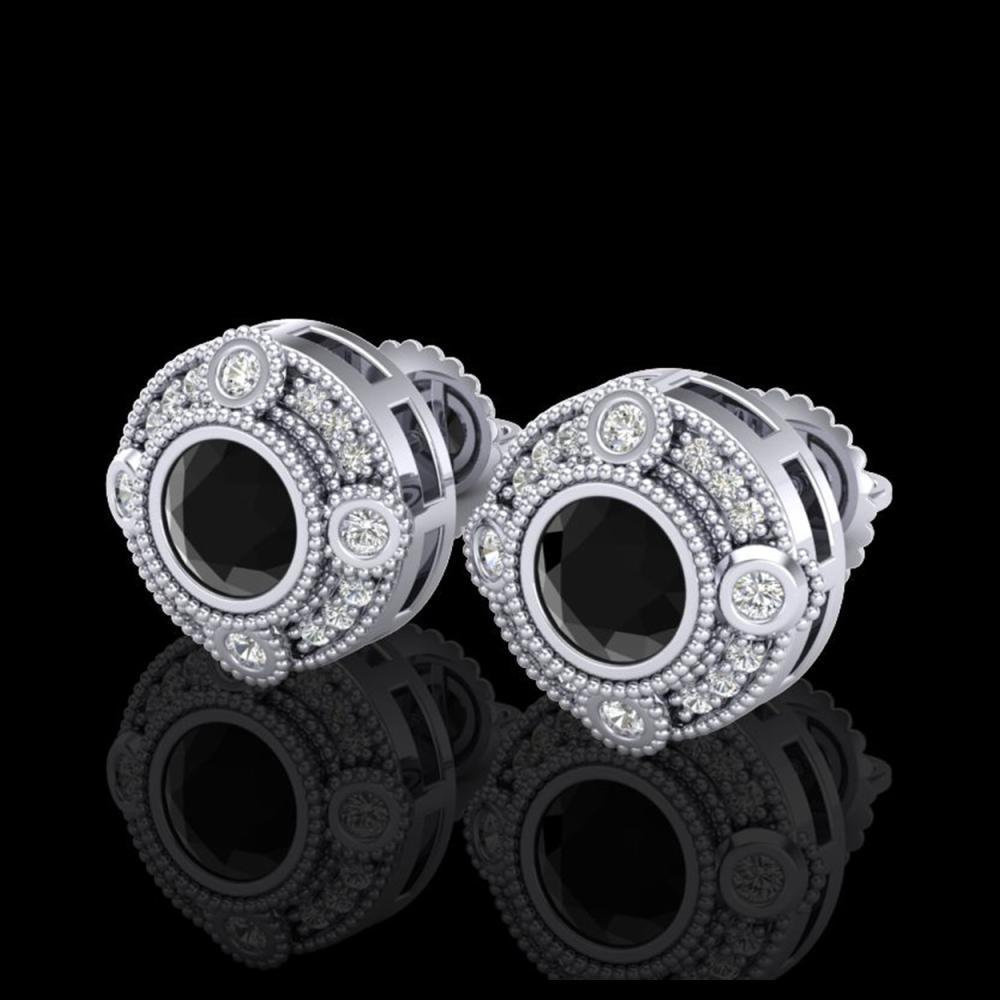 1.50 ctw Fancy Black Diamond Art Deco Stud Earrings 18K White Gold - REF-113F6N - SKU:37695