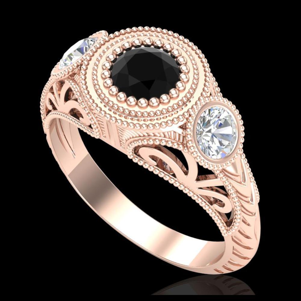 1.06 ctw Fancy Black Diamond Art Deco 3 Stone Ring 18K Rose Gold - REF-123V6Y - SKU:37493