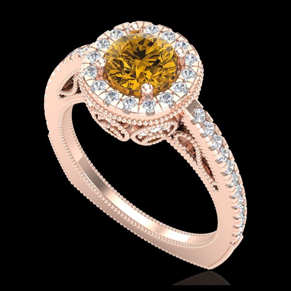 1.55 ctw Intense Fancy Yellow Diamond Art Deco Ring 18K Rose Gold - REF-200A2V - SKU:37988