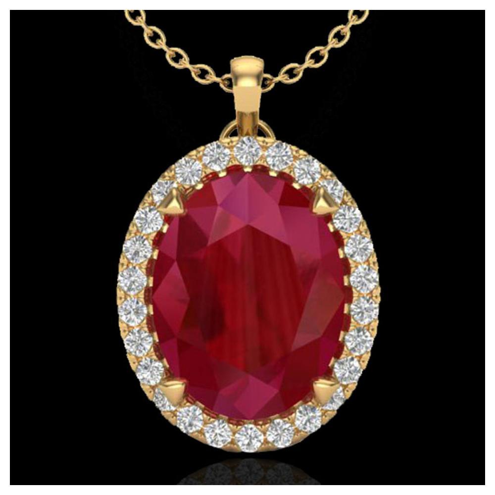 2.75 ctw Ruby & VS/SI Diamond Necklace 18K Yellow Gold - REF-60A2V - SKU:20597