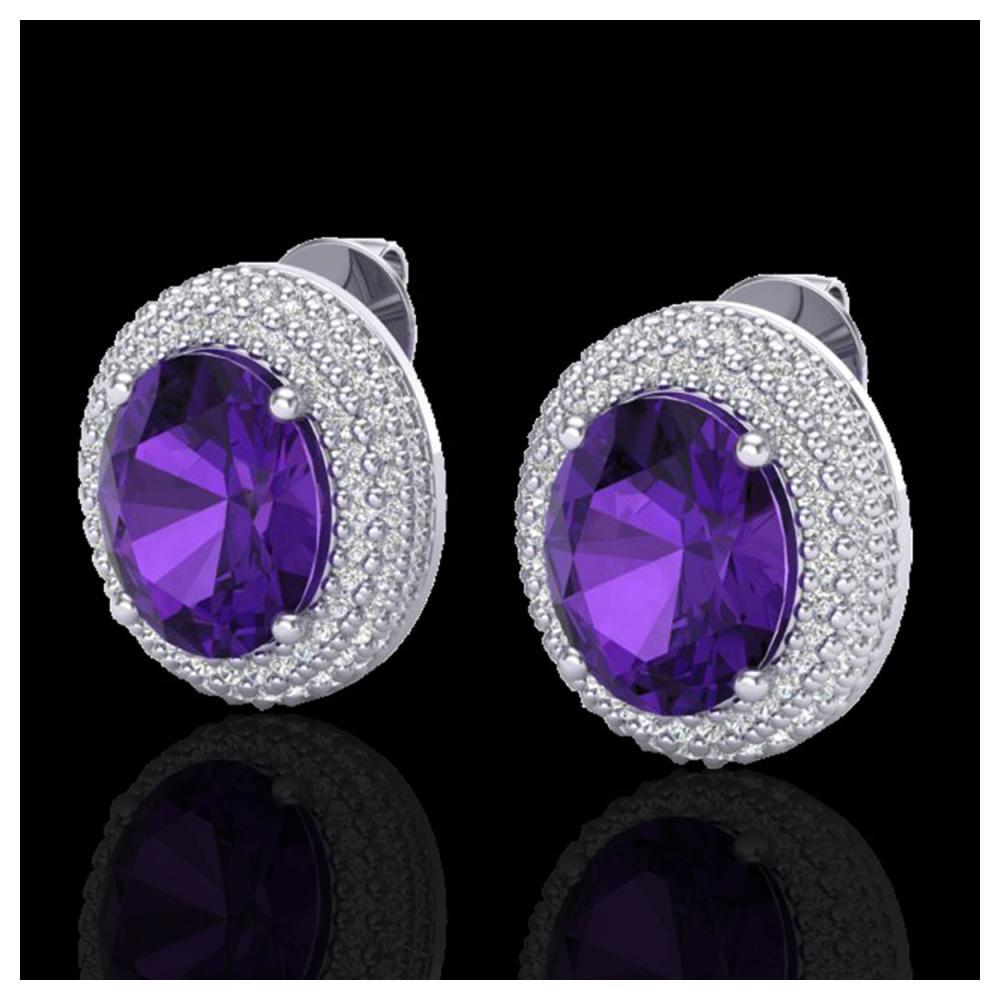 8 ctw Amethyst & VS/SI Diamond Earrings 18K White Gold - REF-150W5H - SKU:20212
