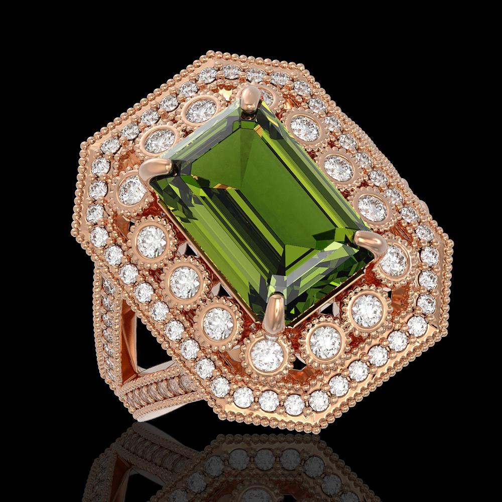 6.08 ctw Tourmaline & Diamond Ring 14K Rose Gold - REF-208H7M - SKU:43383