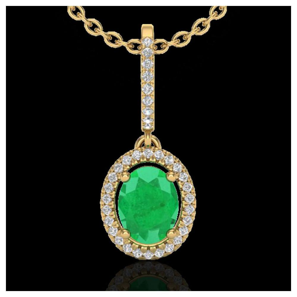 2 ctw Emerald & VS/SI Diamond Necklace Halo 18K Yellow Gold - REF-63M6F - SKU:20659
