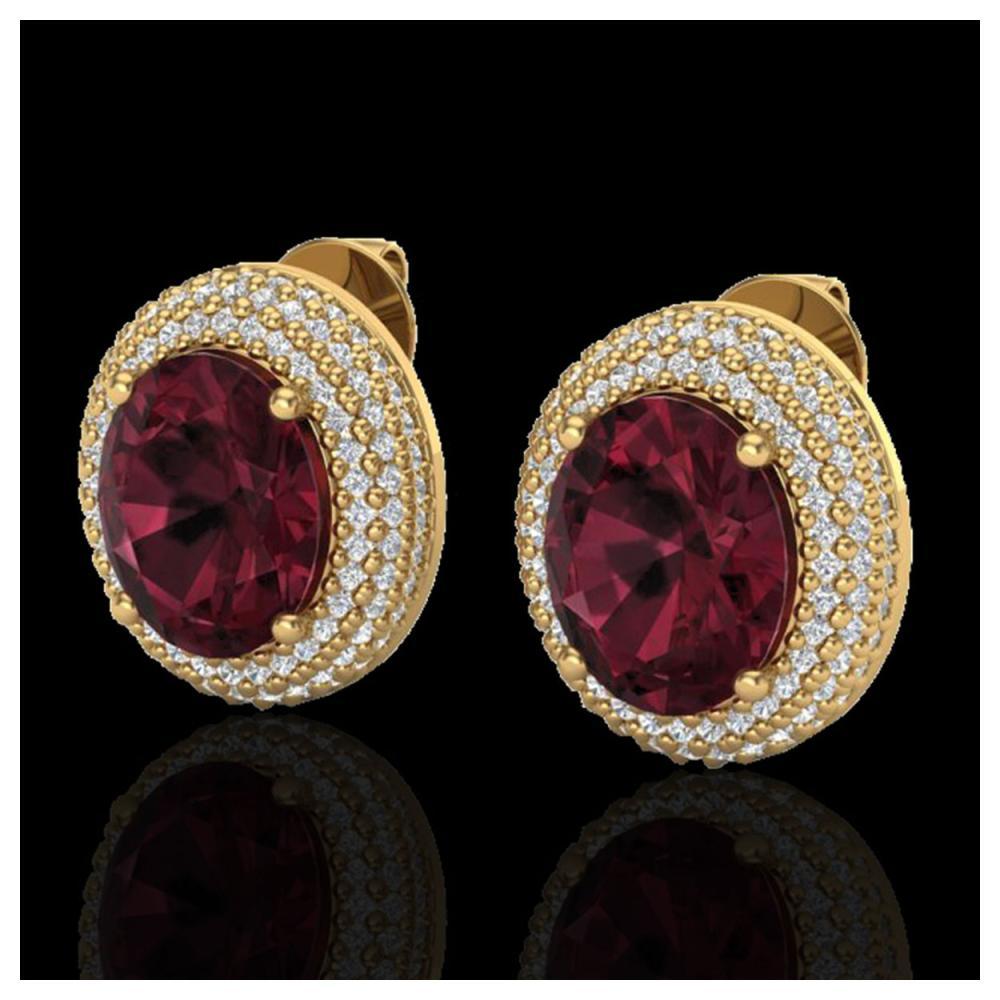 9 ctw Garnet & VS/SI Diamond Earrings 18K Yellow Gold - REF-153R5K - SKU:20227