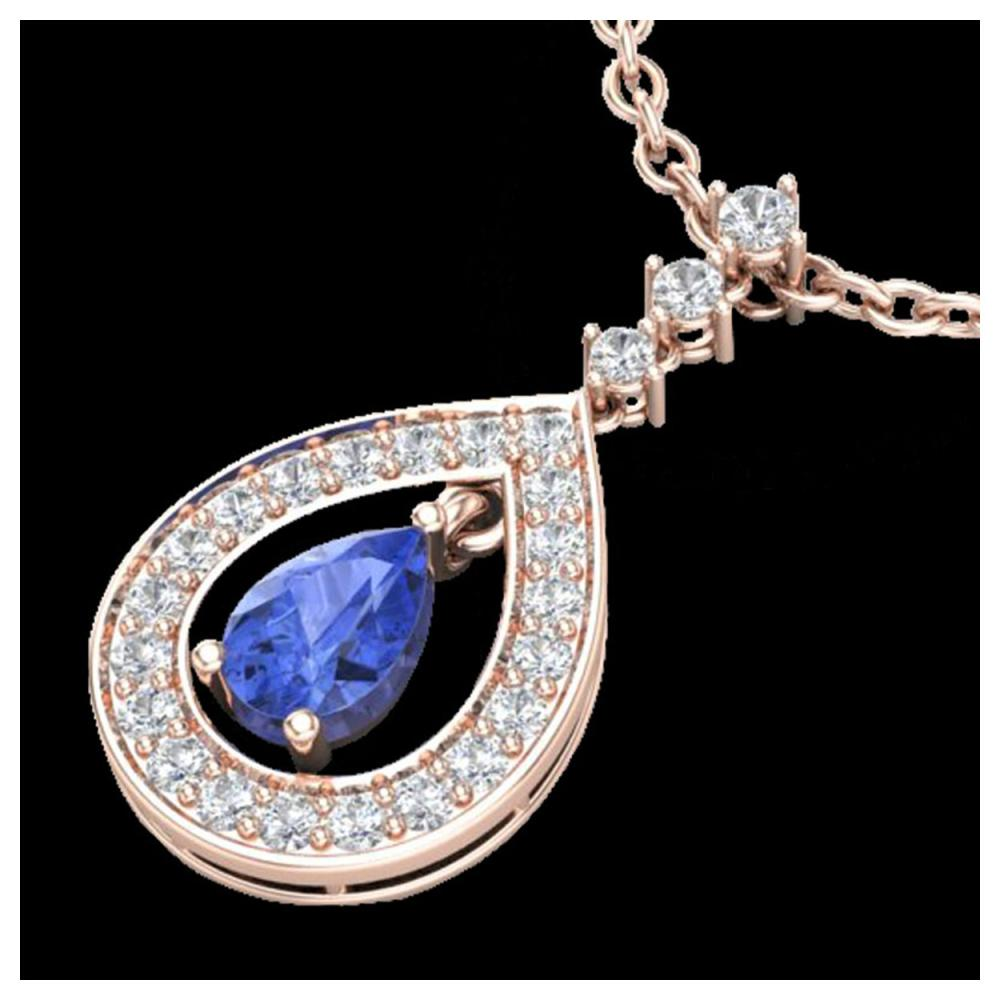 1.15 ctw Tanzanite & VS/SI Diamond Necklace 14K Rose Gold - REF-63X6R - SKU:23173