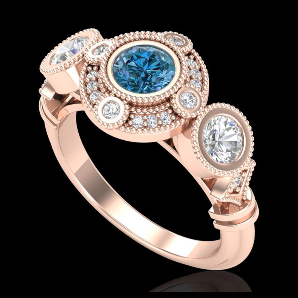1.51 ctw Intense Blue Diamond Art Deco 3 Stone Ring 18K Rose Gold - REF-218F2N - SKU:37713