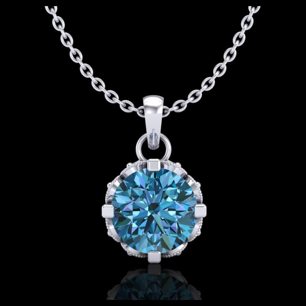 0.85 ctw Fancy Intense Blue Diamond Art Deco Necklace 18K White Gold - REF-90W9H - SKU:37369