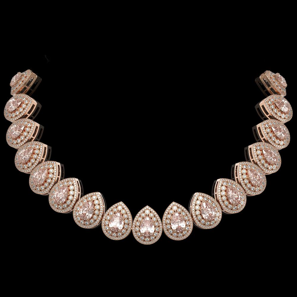 103.22 ctw Morganite & Diamond Necklace 14K Rose Gold - REF-4551F3N - SKU:43251