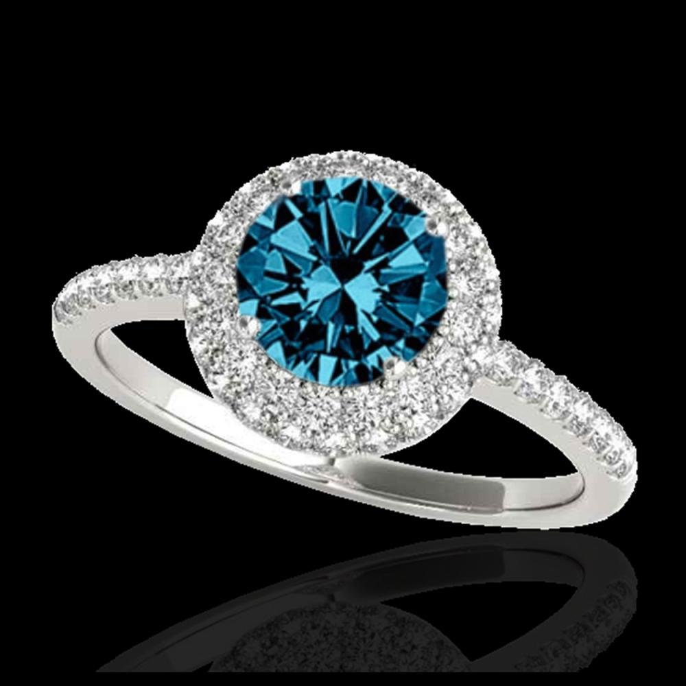 1.60 ctw SI Fancy Blue Diamond Solitaire Halo Ring 10K White Gold - REF-126A8V - SKU:33675