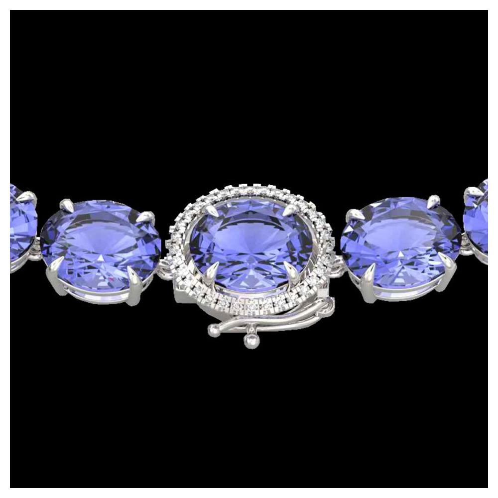 170 ctw Tanzanite & Diamond Eternity Necklace 14K White Gold - REF-3163M6F - SKU:22317
