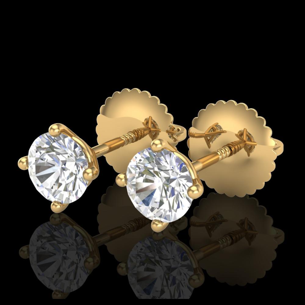 0.65 ctw VS/SI Diamond Solitaire Art Deco Stud Earrings 18K Yellow Gold - REF-89H3M - SKU:37297