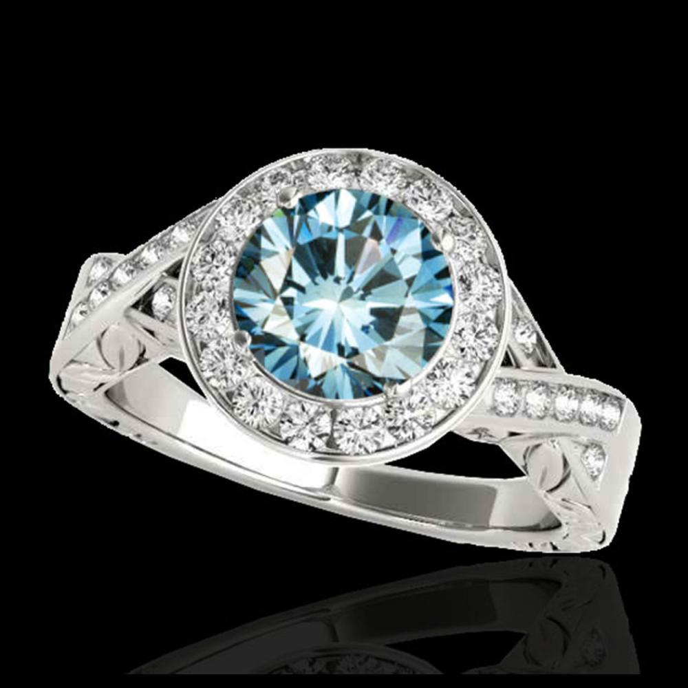 1.75 ctw SI Fancy Blue Diamond Halo Ring 10K White Gold - REF-218F2N - SKU:34527