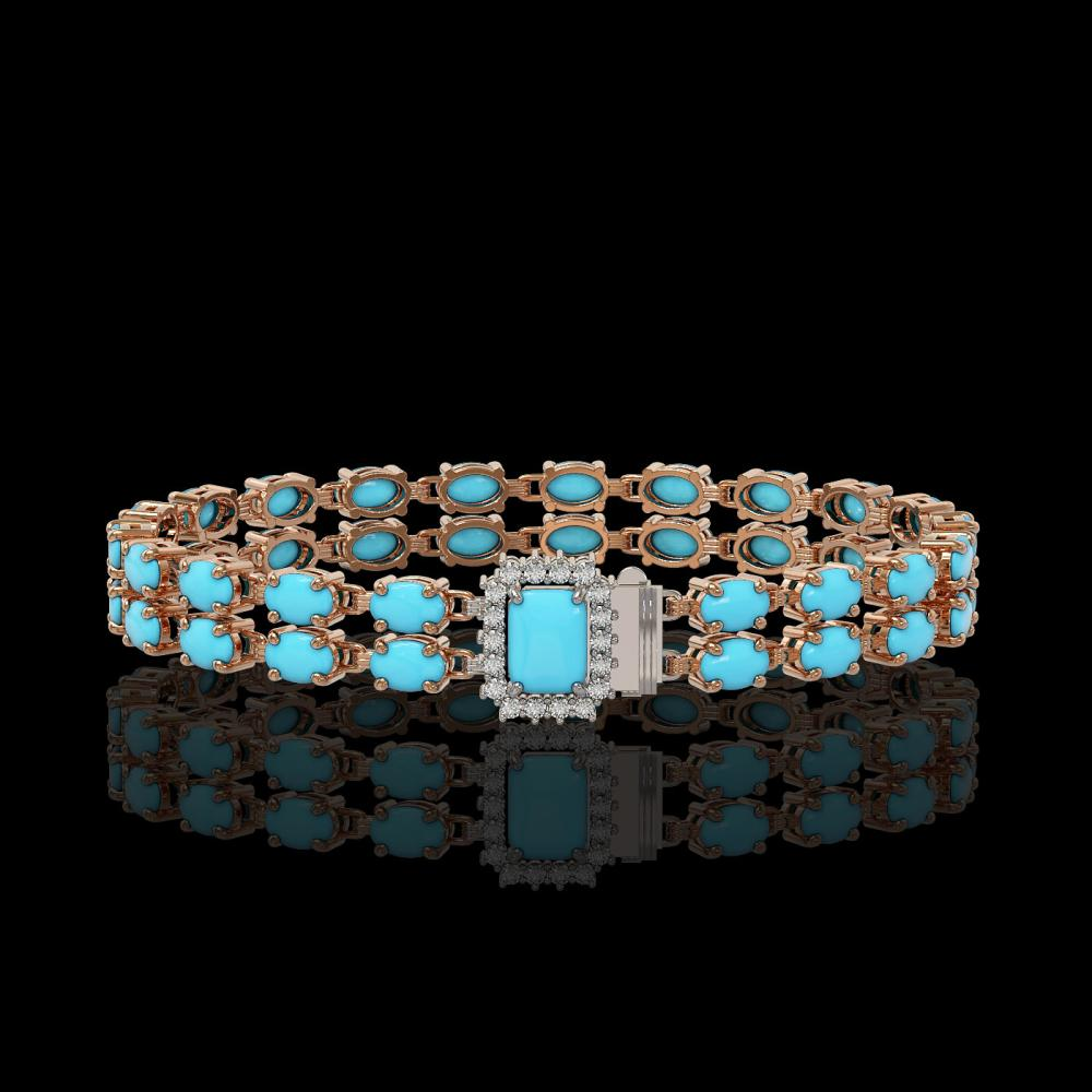 13.04 ctw Turquoise & Diamond Bracelet 14K Rose Gold - REF-165F3N - SKU:45759