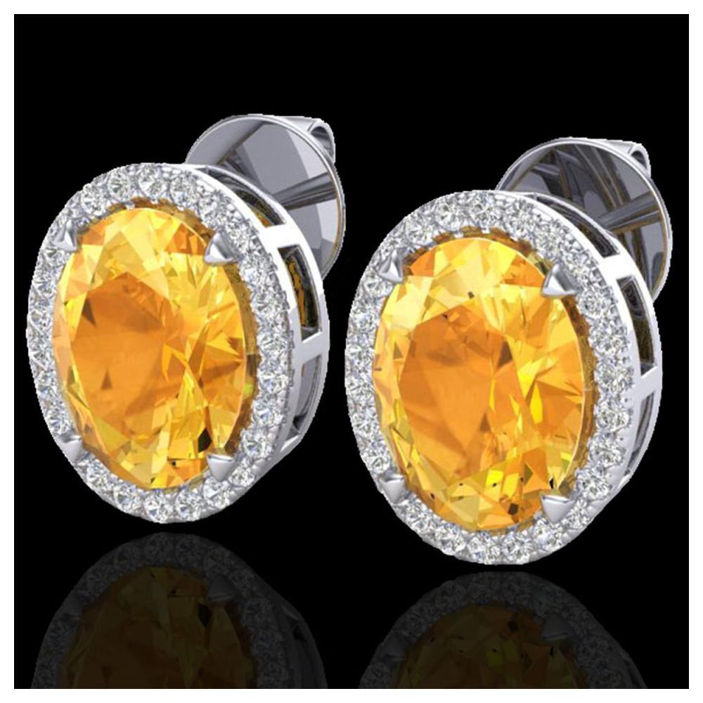5.50 ctw Citrine & VS/SI Diamond Halo Earrings 18K White Gold - REF-63K3W - SKU:20246