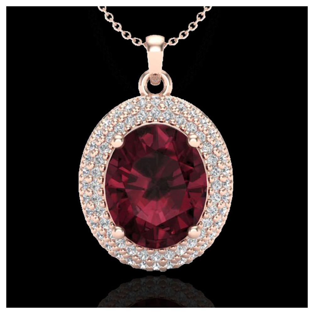 4.50 ctw Garnet & VS/SI Diamond Necklace 14K Rose Gold - REF-84R5K - SKU:20564