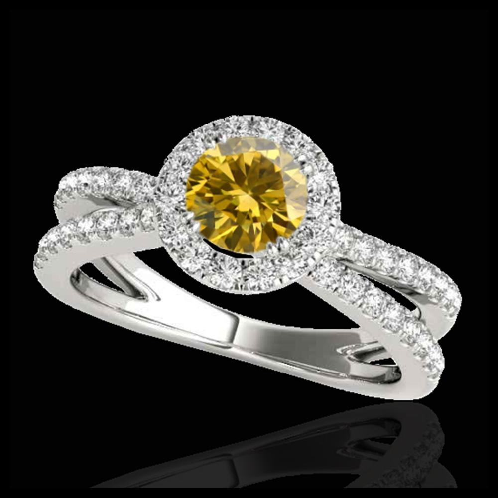 1.55 ctw SI/I Fancy Intense Yellow Diamond Ring 10K White Gold - REF-210A2V - SKU:33853