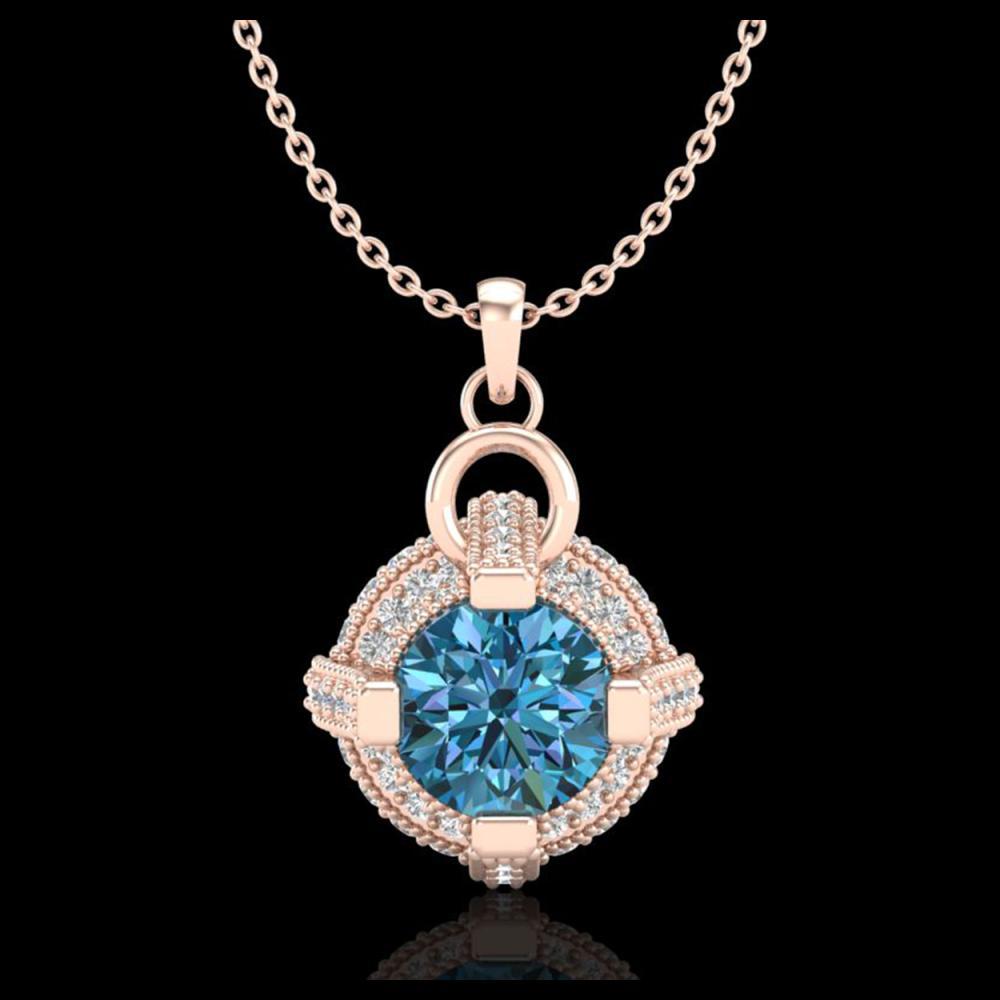 1.57 ctw Fancy Intense Blue Diamond Necklace 18K Rose Gold - REF-154X5R - SKU:37636