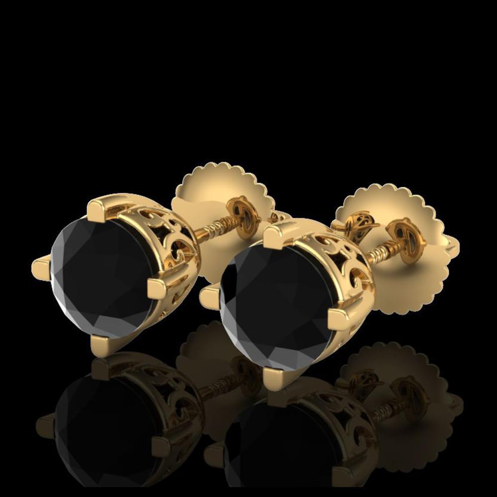 1.50 ctw Fancy Black Diamond Art Deco Stud Earrings 18K Yellow Gold - REF-70X9R - SKU:38068