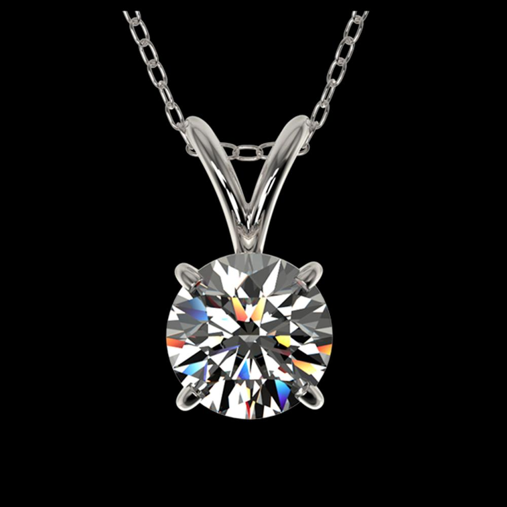 0.72 ctw H-SI/I Diamond Solitaire Necklace 10K White Gold - REF-88X5R - SKU:36736