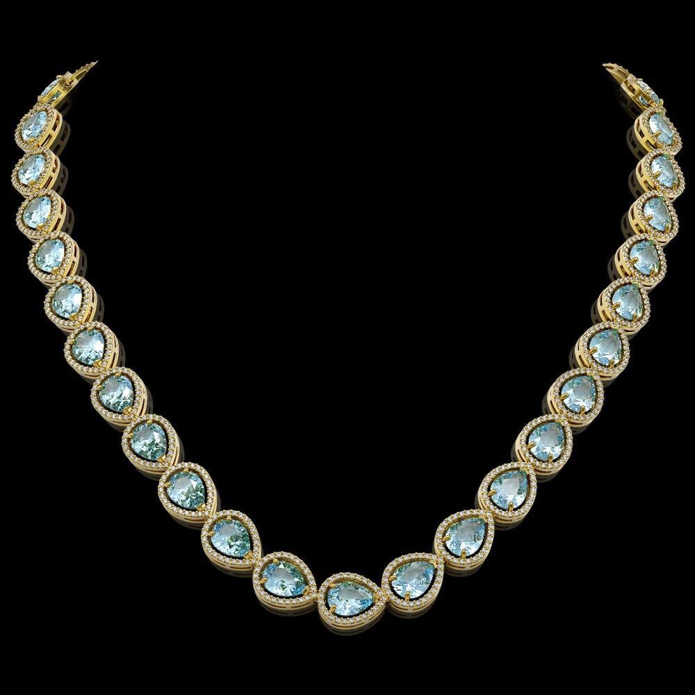 41.6 ctw Aquamarine & Diamond Halo Necklace 10K Yellow Gold - REF-896F4N - SKU:41212