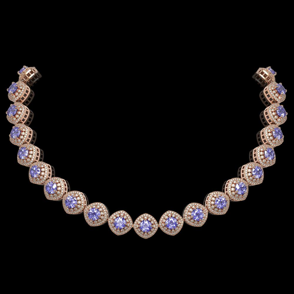 83.82 ctw Tanzanite & Diamond Necklace 14K Rose Gold - REF-2511V8Y - SKU:44106