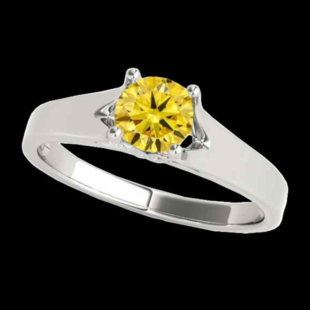 1 ctw SI/I Fancy Intense Yellow Diamond Ring 10K White Gold - REF-184A3V - SKU:35162