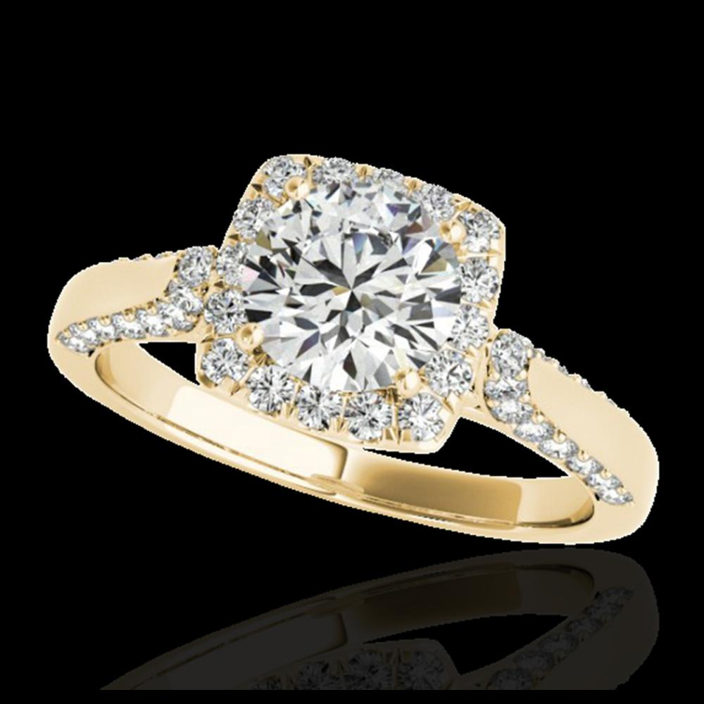 1.50 ctw H-SI/I Diamond Solitaire Halo Ring 10K Yellow Gold - REF-190Y9X - SKU:33366