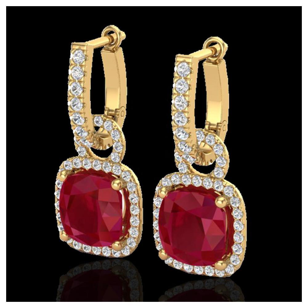 6 ctw Ruby & VS/SI Diamond Earrings 18K Yellow Gold - REF-118H9M - SKU:22969