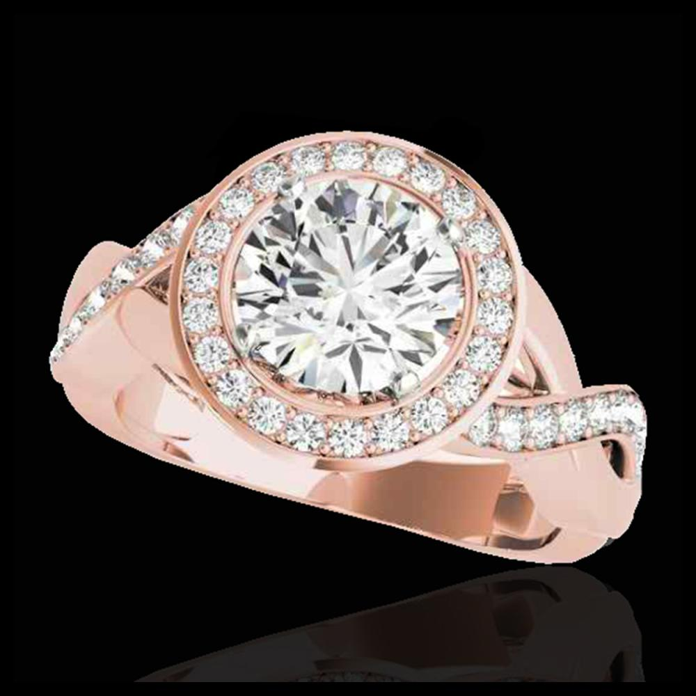 1.75 ctw H-SI/I Diamond Solitaire Halo Ring 10K Rose Gold - REF-148H4M - SKU:33268