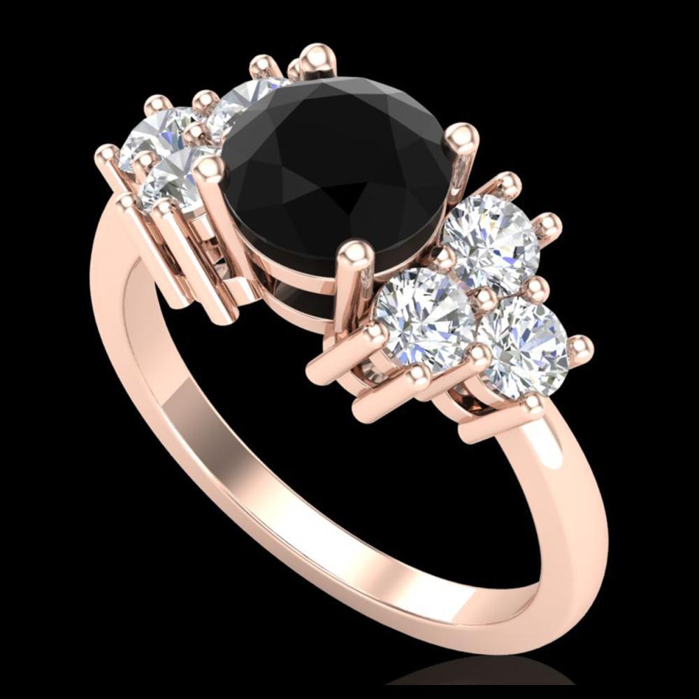 1.51 ctw Fancy Black Diamond Art Deco Ring 18K Rose Gold - REF-127K3W - SKU:37892