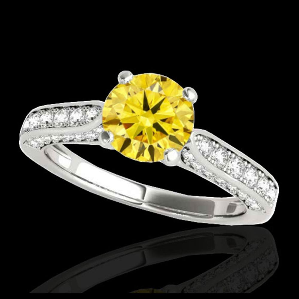 1.60 ctw SI/I Fancy Intense Yellow Diamond Ring 10K White Gold - REF-197W7H - SKU:34923