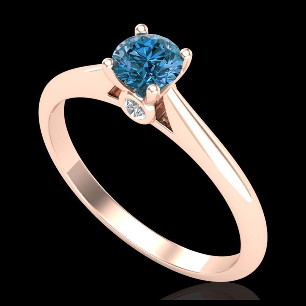 0.40 ctw Intense Blue Diamond Art Deco Ring 18K Rose Gold - REF-80W2H - SKU:38182