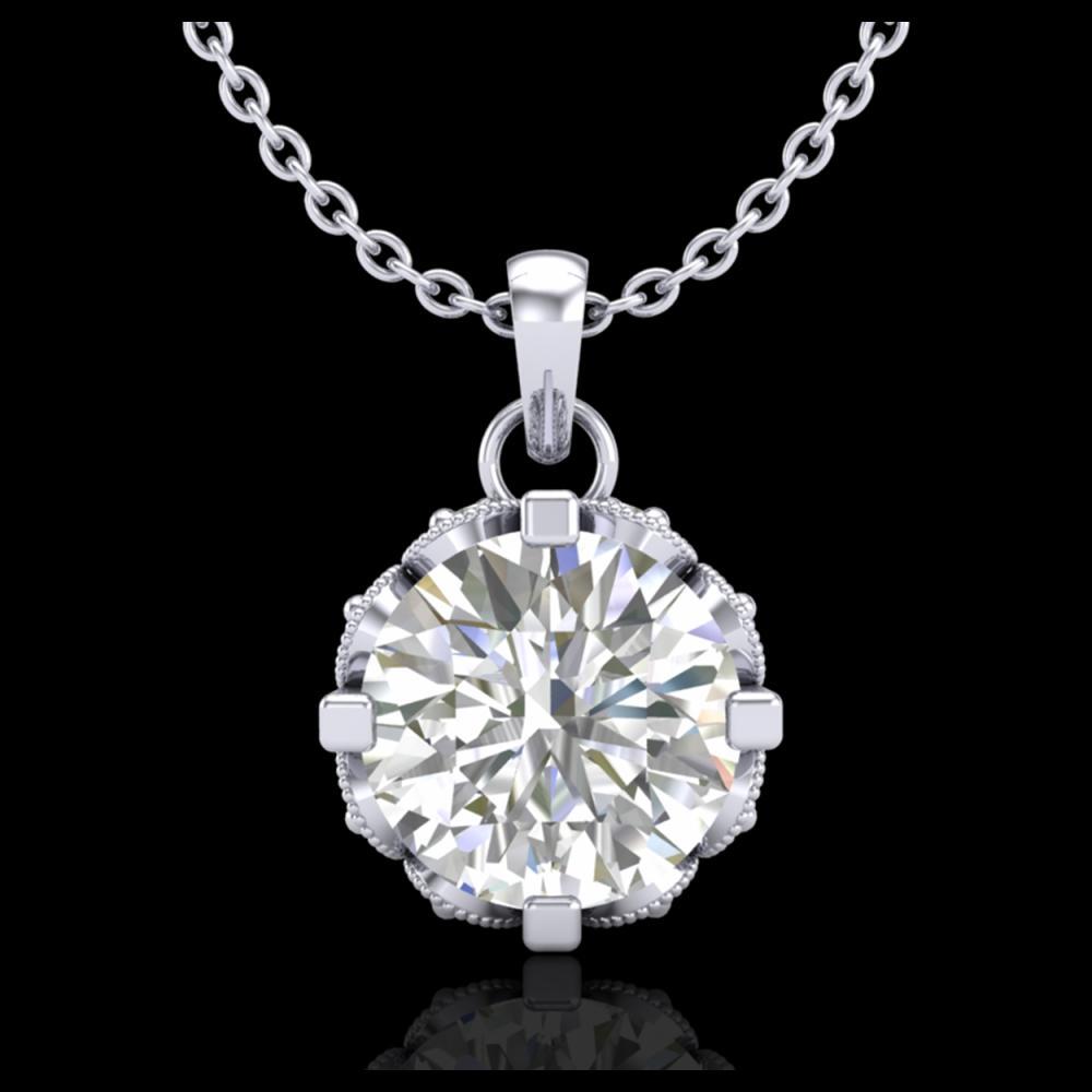 1.14 ctw VS/SI Diamond Solitaire Art Deco Stud Necklace 18K White Gold - REF-205A5V - SKU:36842