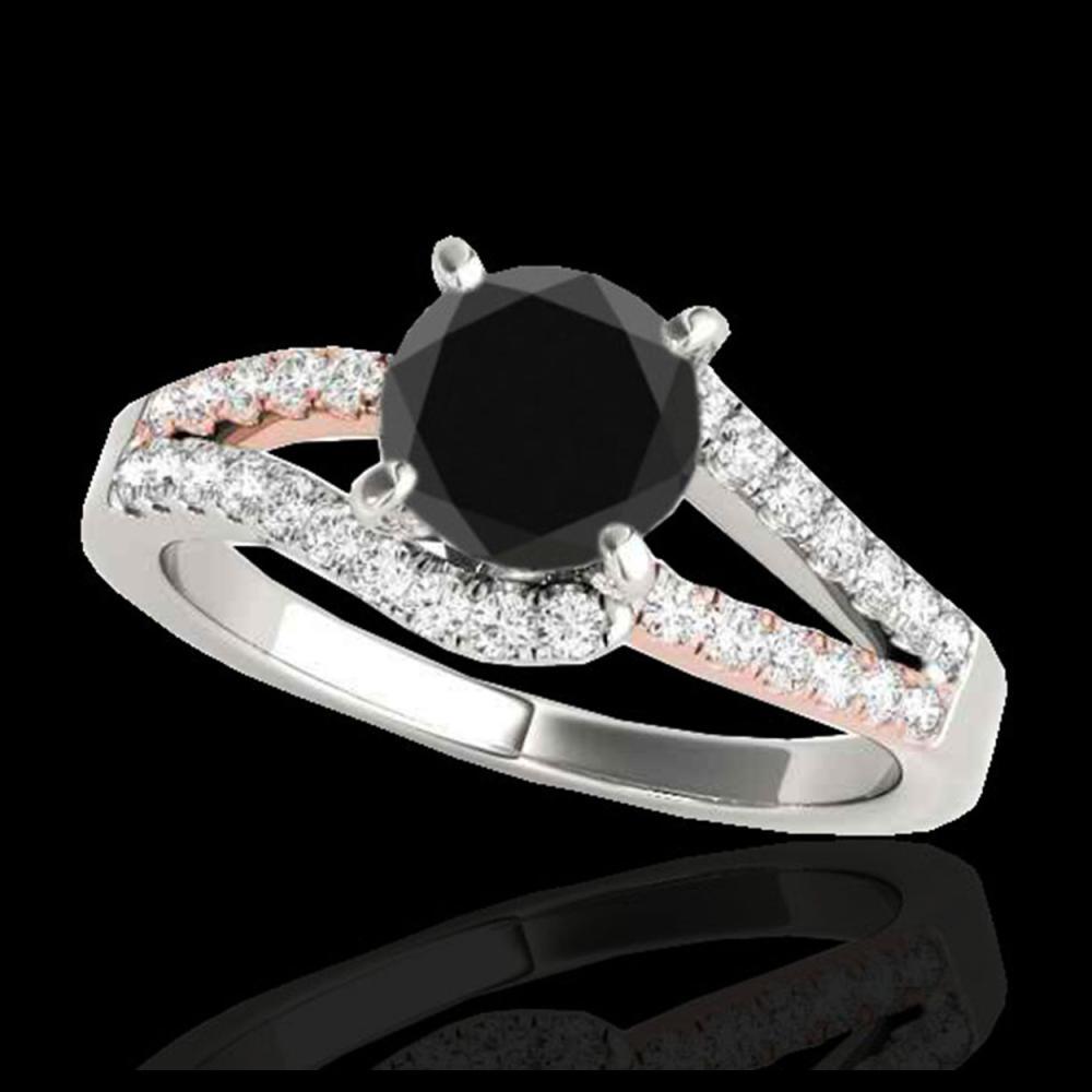 1.40 ctw VS Black Diamond Solitaire Ring 10K White & Rose Gold - REF-52Y6X - SKU:35298