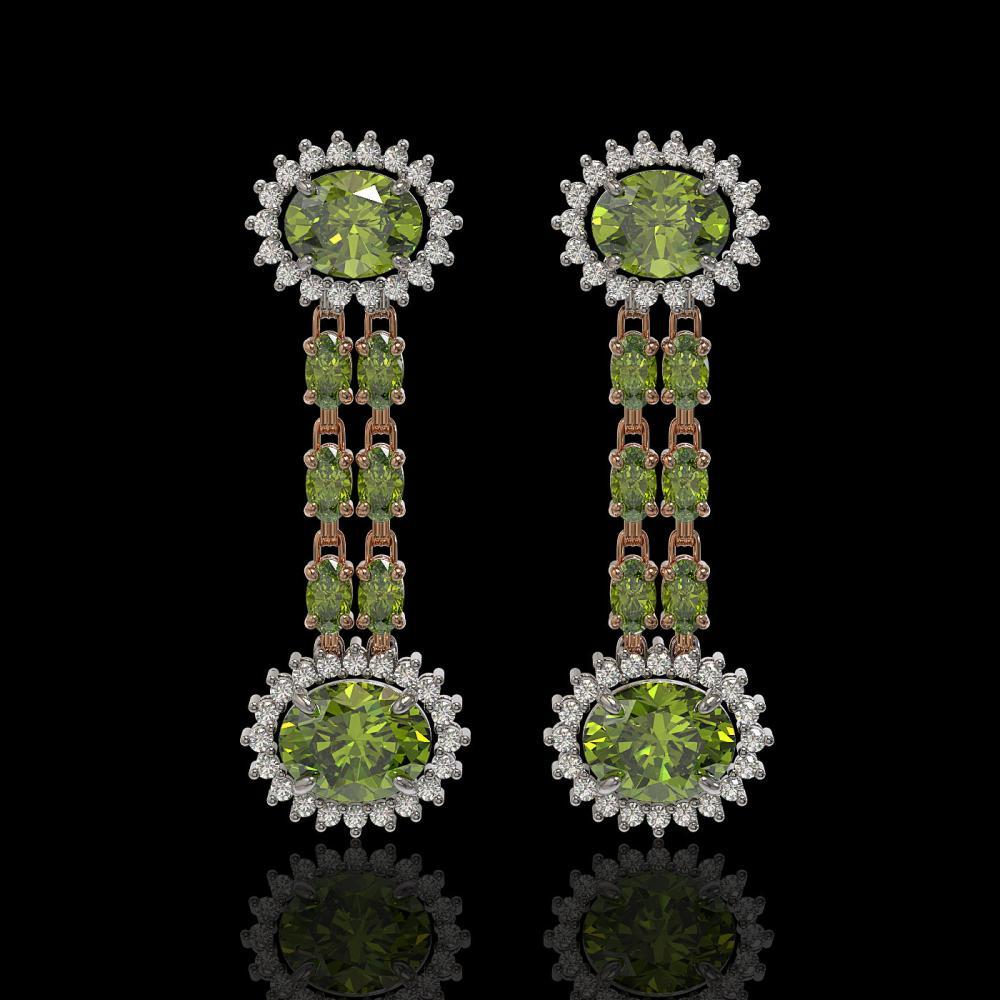 8.69 ctw Tourmaline & Diamond Earrings 14K Rose Gold - REF-175A3V - SKU:44304