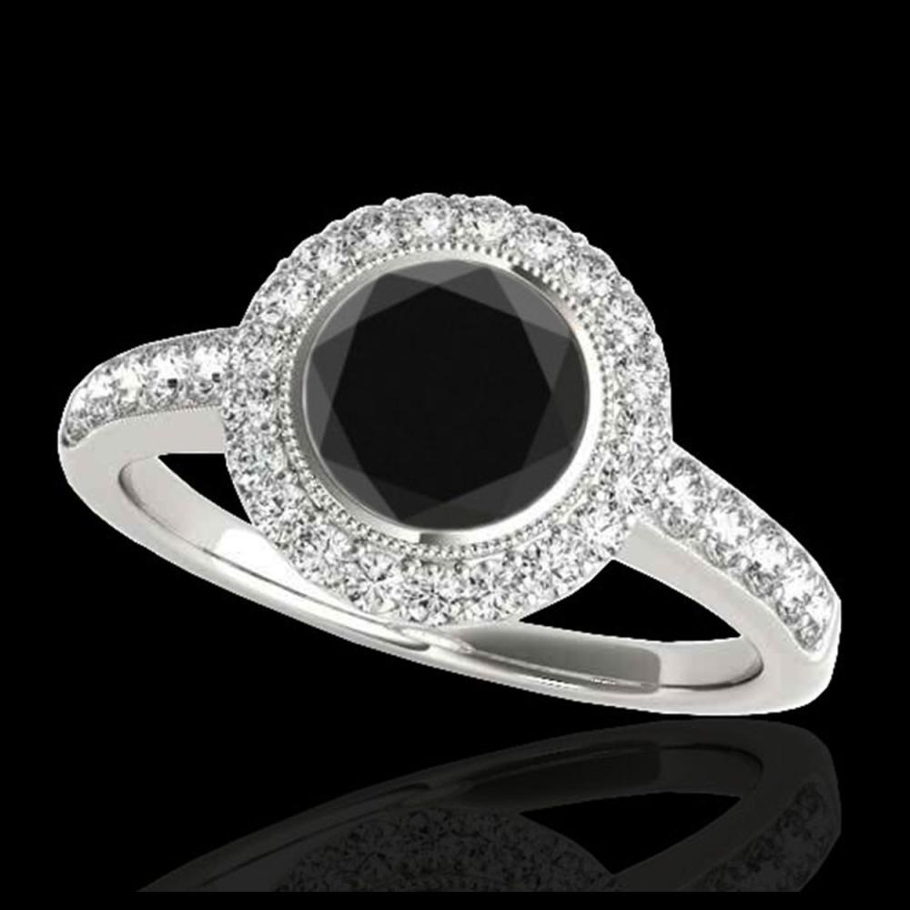 1.50 ctw VS Black Diamond Solitaire Halo Ring 10K White Gold - REF-62V7Y - SKU:34444