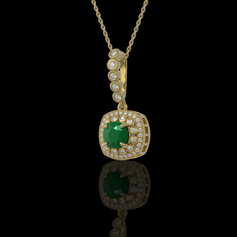 2.55 ctw Emerald & Diamond Necklace 14K Yellow Gold - REF-79M6F - SKU:44074