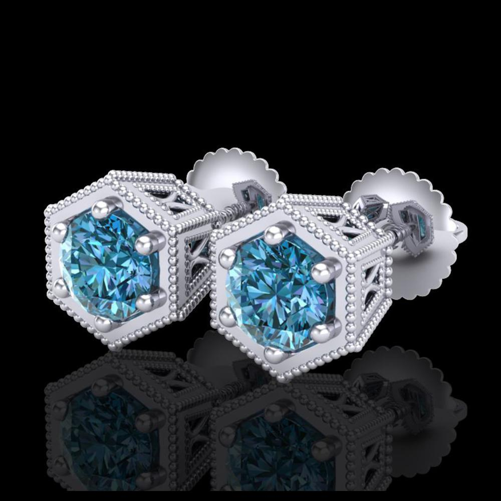 1.15 ctw Fancy Intense Blue Diamond Art Deco Earrings 18K White Gold - REF-127K3W - SKU:38041