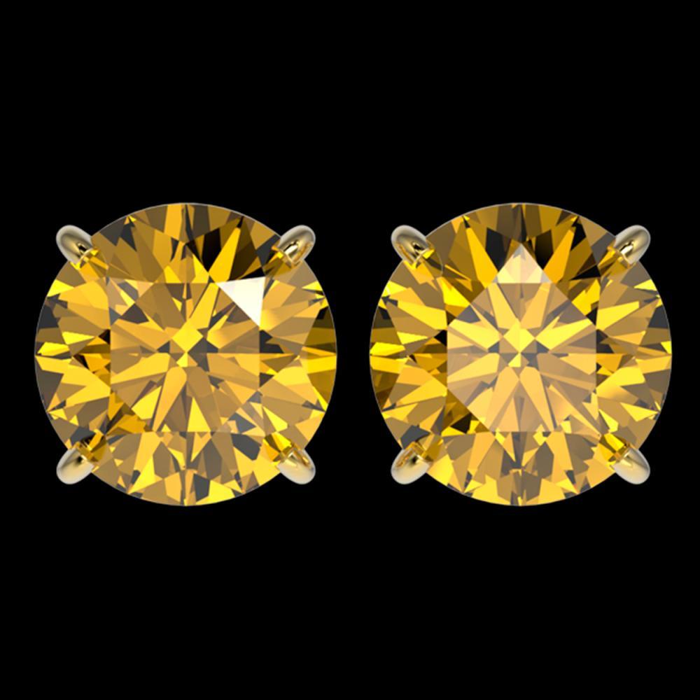 4 ctw Intense Yellow Diamond Stud Earrings 10K Yellow Gold - REF-1095X2R - SKU:33141