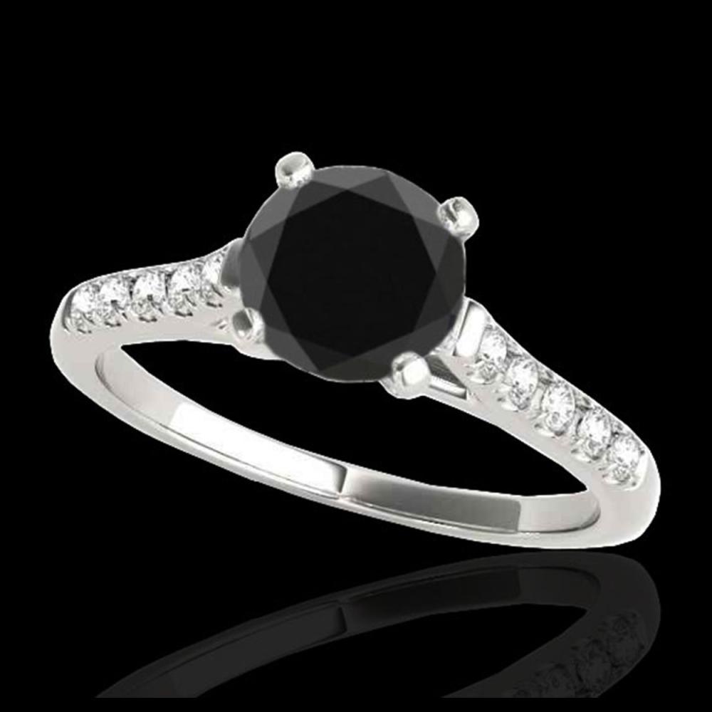 1.45 ctw VS Black Diamond Solitaire Ring 10K White Gold - REF-53X2R - SKU:34982