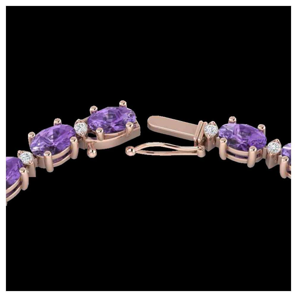 28 ctw Amethyst & VS/SI Diamond Eternity Necklace 10K Rose Gold - REF-146R5K - SKU:21580