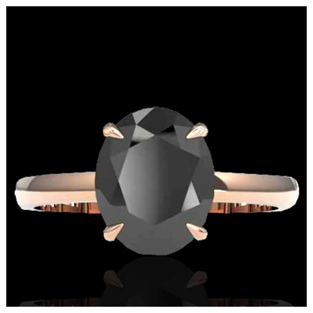 5 ctw Black VS/SI Diamond Ring 14K Rose Gold - REF-161W8H - SKU:22054