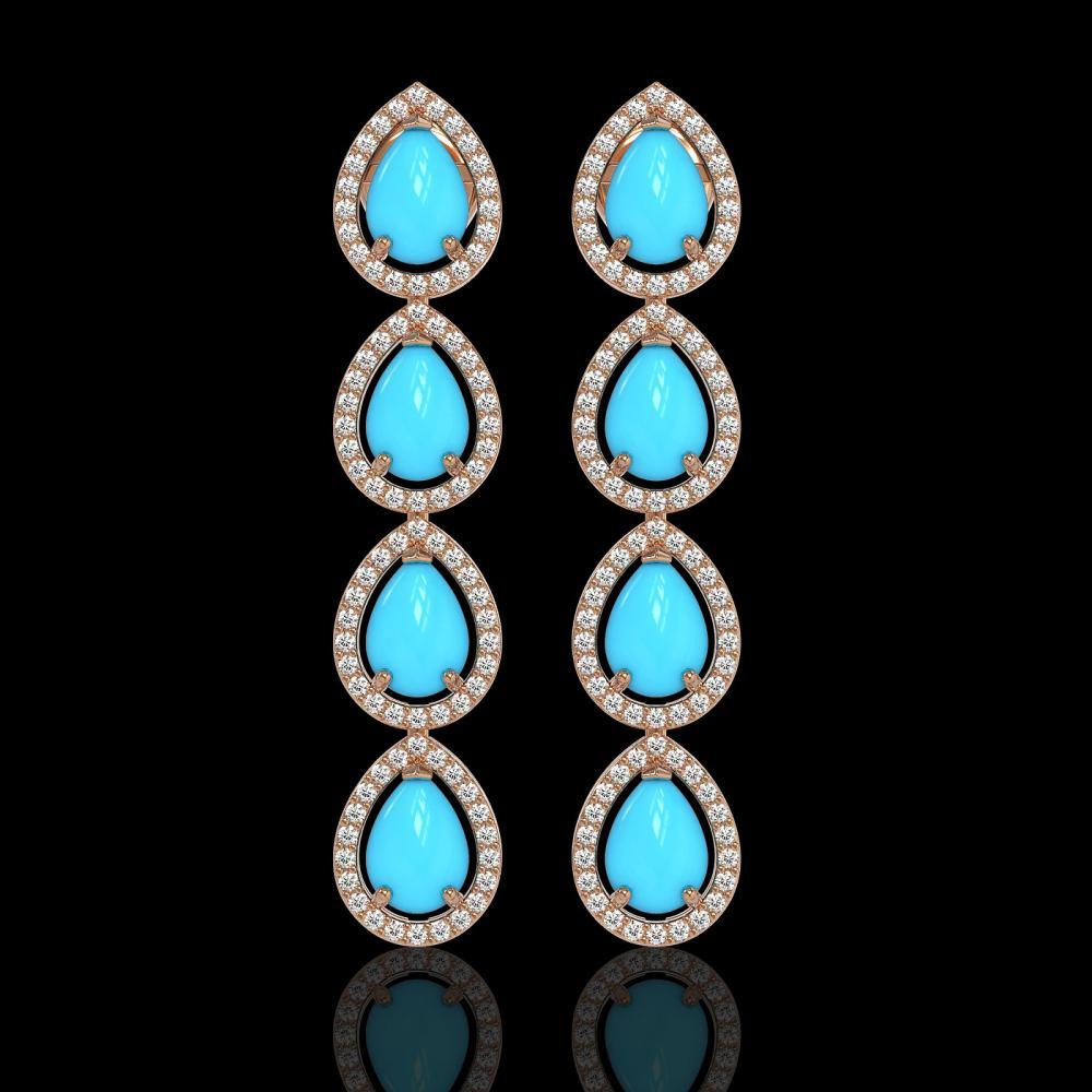 6.20 ctw Turquoise & Diamond Halo Earrings 10K Rose Gold - REF-134X9R - SKU:46052