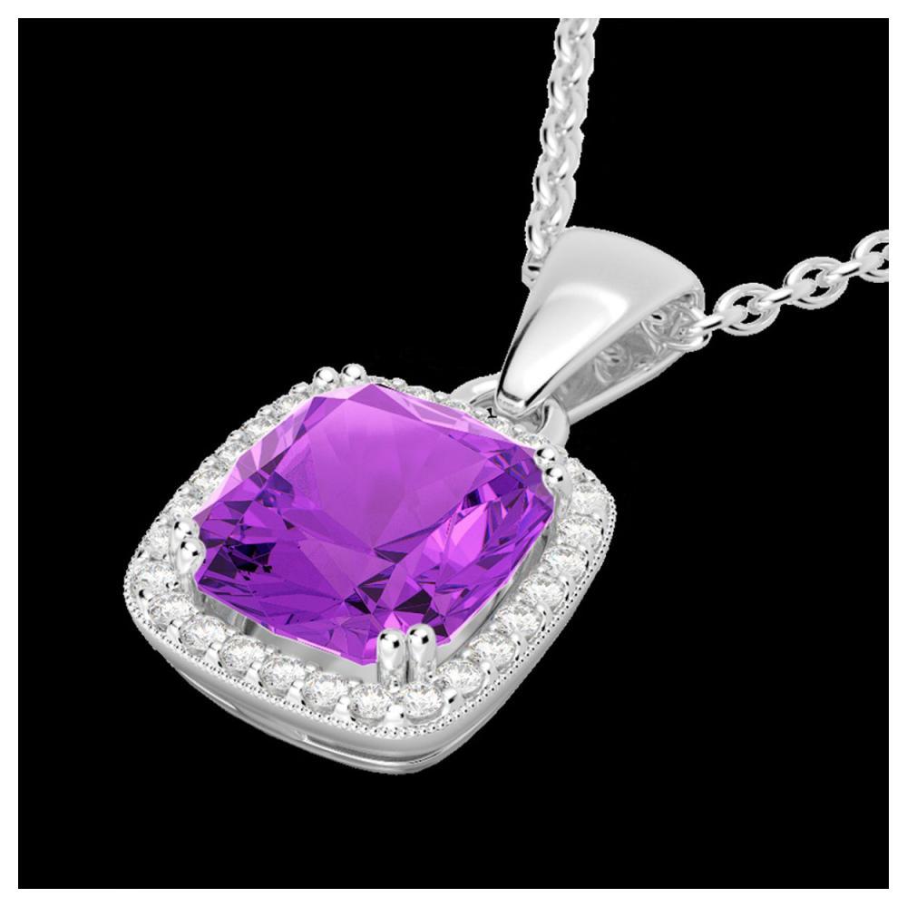 3 ctw Amethyst & VS/SI Diamond Necklace 18K White Gold - REF-48Y9X - SKU:22815