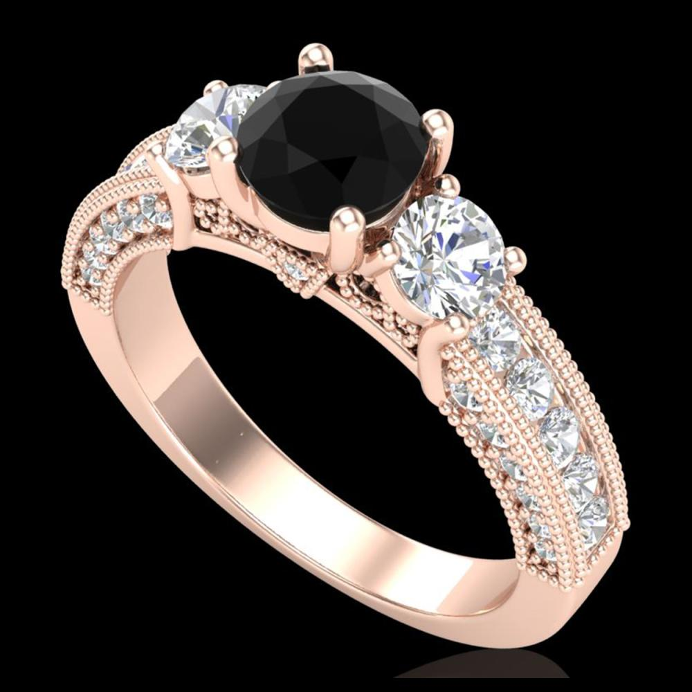 2.07 ctw Fancy Black Diamond Art Deco 3 Stone Ring 18K Rose Gold - REF-200V2Y - SKU:37780